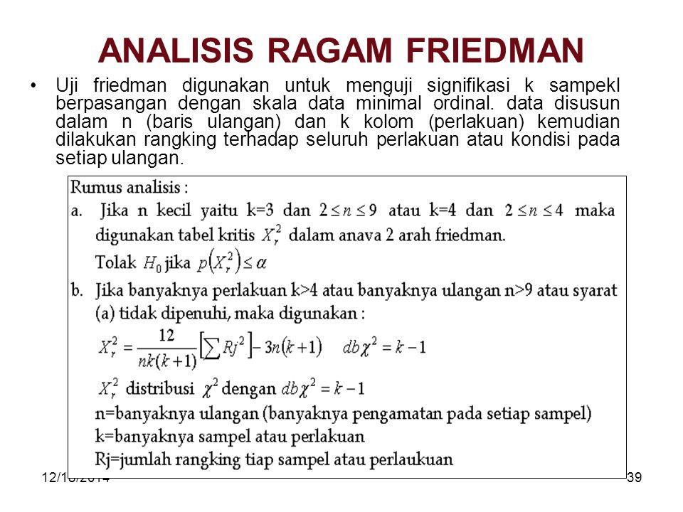 12/18/201439 ANALISIS RAGAM FRIEDMAN Uji friedman digunakan untuk menguji signifikasi k sampekl berpasangan dengan skala data minimal ordinal. data di