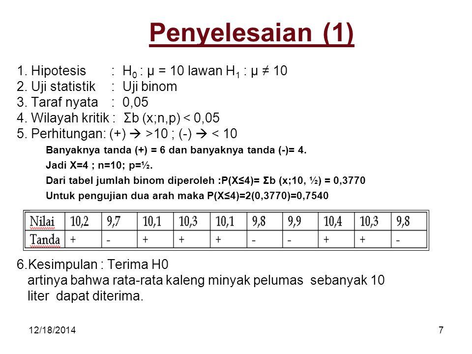 12/18/20147 Penyelesaian (1) 1. Hipotesis: H 0 : µ = 10 lawan H 1 : µ ≠ 10 2. Uji statistik: Uji binom 3. Taraf nyata : 0,05 4. Wilayah kritik : Σb (x