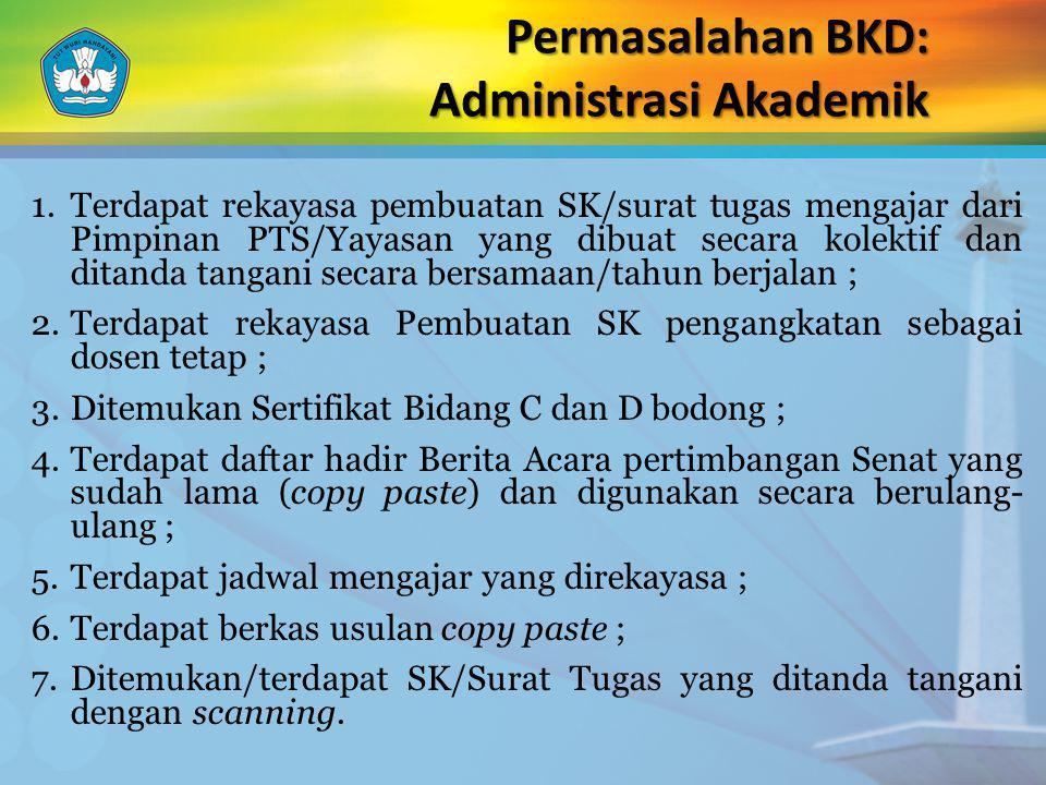 Permasalahan BKD: Administrasi Akademik 1.Terdapat rekayasa pembuatan SK/surat tugas mengajar dari Pimpinan PTS/Yayasan yang dibuat secara kolektif da