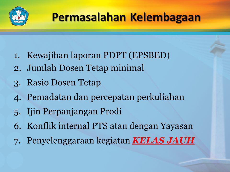 Permasalahan Kelembagaan 1.Kewajiban laporan PDPT (EPSBED) 2.Jumlah Dosen Tetap minimal 3.Rasio Dosen Tetap 4.Pemadatan dan percepatan perkuliahan 5.I