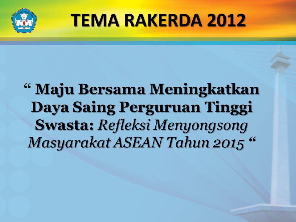 """TEMA RAKERDA 2012 Maju Bersama Meningkatkan Daya Saing Perguruan Tinggi Swasta: Refleksi Menyongsong Masyarakat ASEAN Tahun 2015 """""""