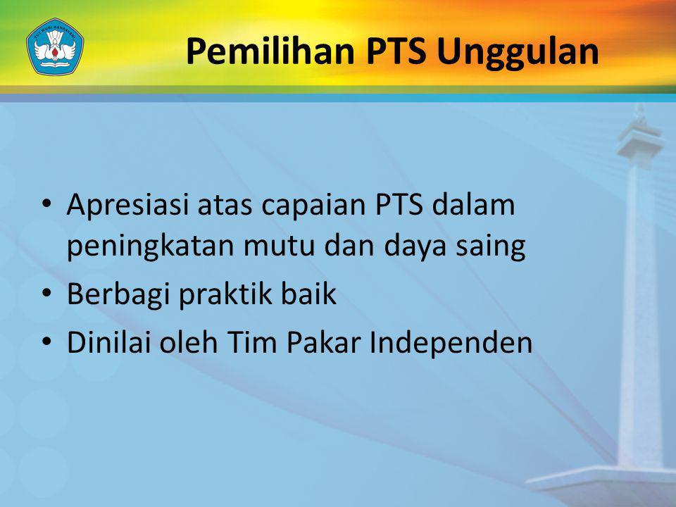 Pemilihan PTS Unggulan Apresiasi atas capaian PTS dalam peningkatan mutu dan daya saing Berbagi praktik baik Dinilai oleh Tim Pakar Independen