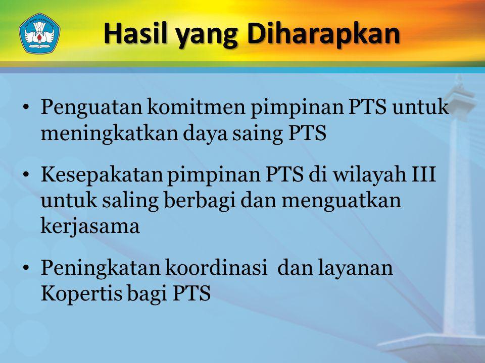 Penguatan komitmen pimpinan PTS untuk meningkatkan daya saing PTS Kesepakatan pimpinan PTS di wilayah III untuk saling berbagi dan menguatkan kerjasam
