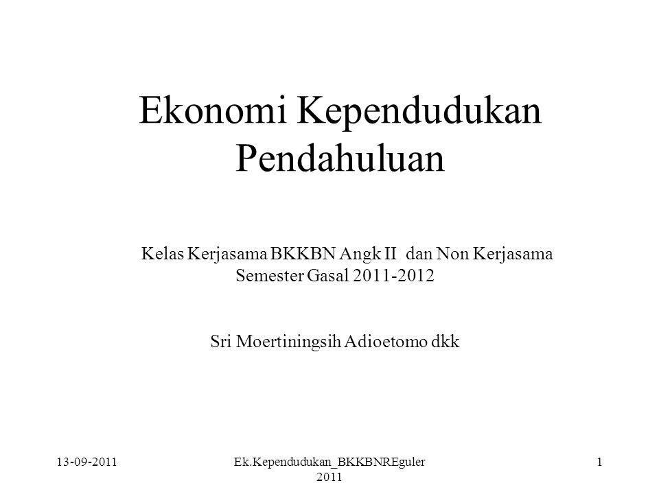 13-09-2011Ek.Kependudukan_BKKBNREguler 2011 22 Pengaruh pendapatan perempuan bekerja thd reproductive behaviour.