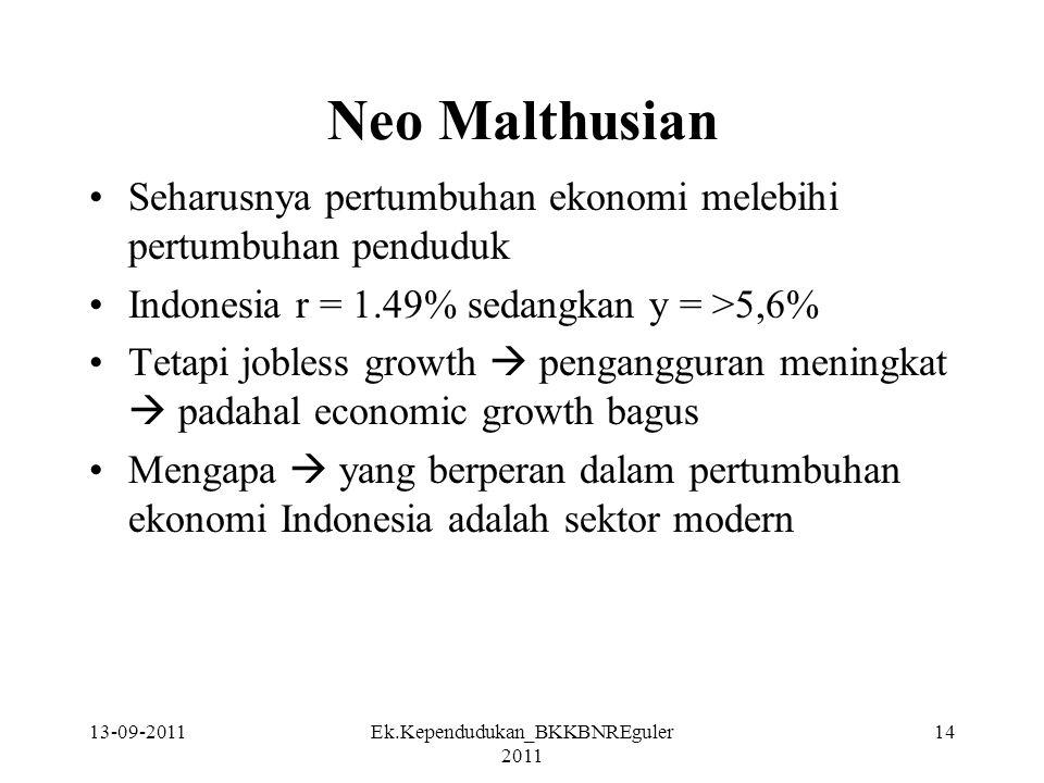 Neo Malthusian Seharusnya pertumbuhan ekonomi melebihi pertumbuhan penduduk Indonesia r = 1.49% sedangkan y = >5,6% Tetapi jobless growth  penganggur