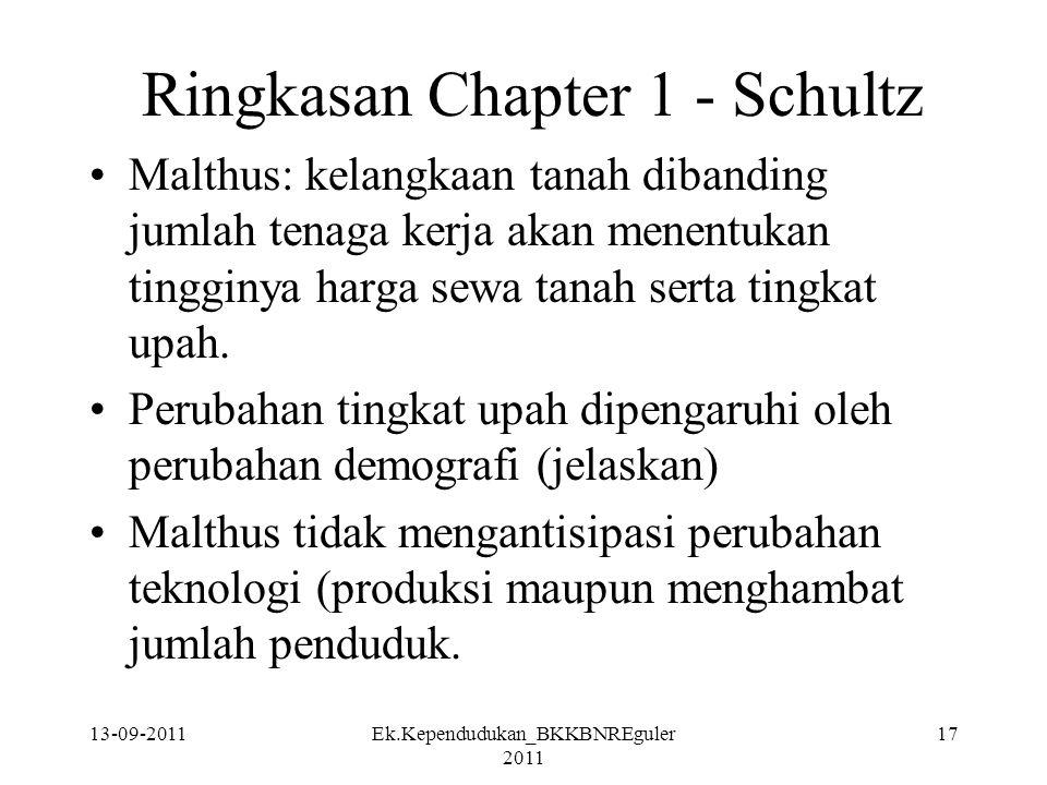 13-09-2011Ek.Kependudukan_BKKBNREguler 2011 17 Ringkasan Chapter 1 - Schultz Malthus: kelangkaan tanah dibanding jumlah tenaga kerja akan menentukan t