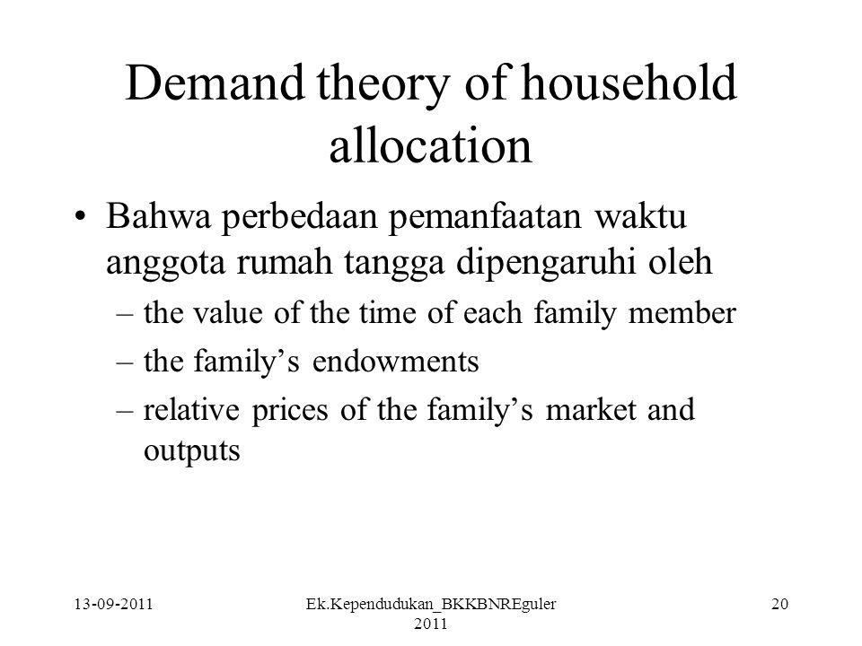 13-09-2011Ek.Kependudukan_BKKBNREguler 2011 20 Demand theory of household allocation Bahwa perbedaan pemanfaatan waktu anggota rumah tangga dipengaruh