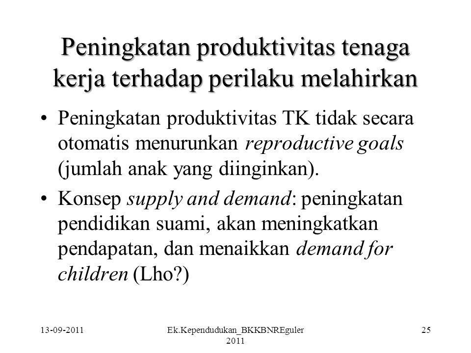 13-09-2011Ek.Kependudukan_BKKBNREguler 2011 25 Peningkatan produktivitas tenaga kerja terhadap perilaku melahirkan Peningkatan produktivitas TK tidak