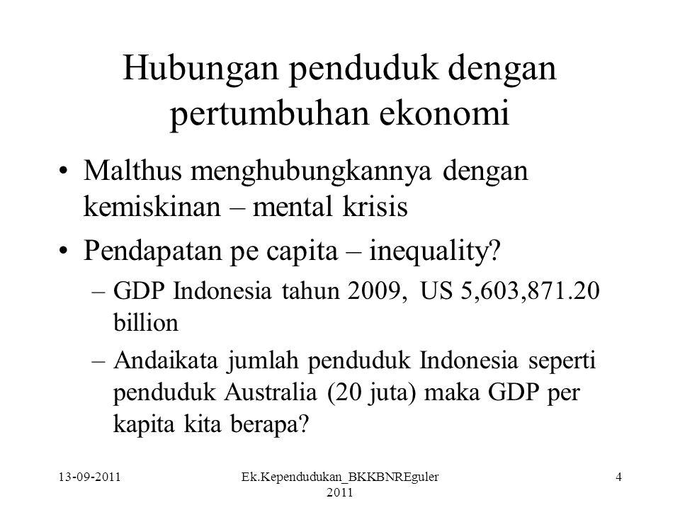 13-09-2011Ek.Kependudukan_BKKBNREguler 2011 4 Hubungan penduduk dengan pertumbuhan ekonomi Malthus menghubungkannya dengan kemiskinan – mental krisis
