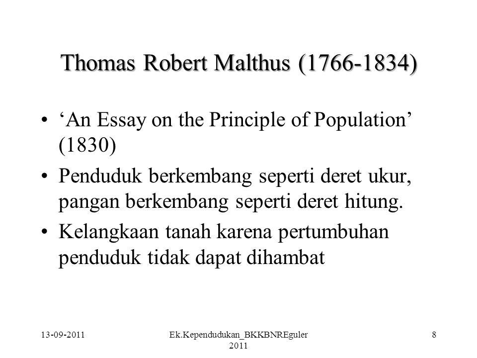 Thomas Robert Malthus (1766-1834) 'An Essay on the Principle of Population' (1830) Penduduk berkembang seperti deret ukur, pangan berkembang seperti d