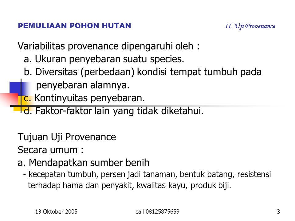 PEMULIAAN POHON HUTAN II. Uji Provenance Variabilitas provenance dipengaruhi oleh : a. Ukuran penyebaran suatu species. b. Diversitas (perbedaan) kond