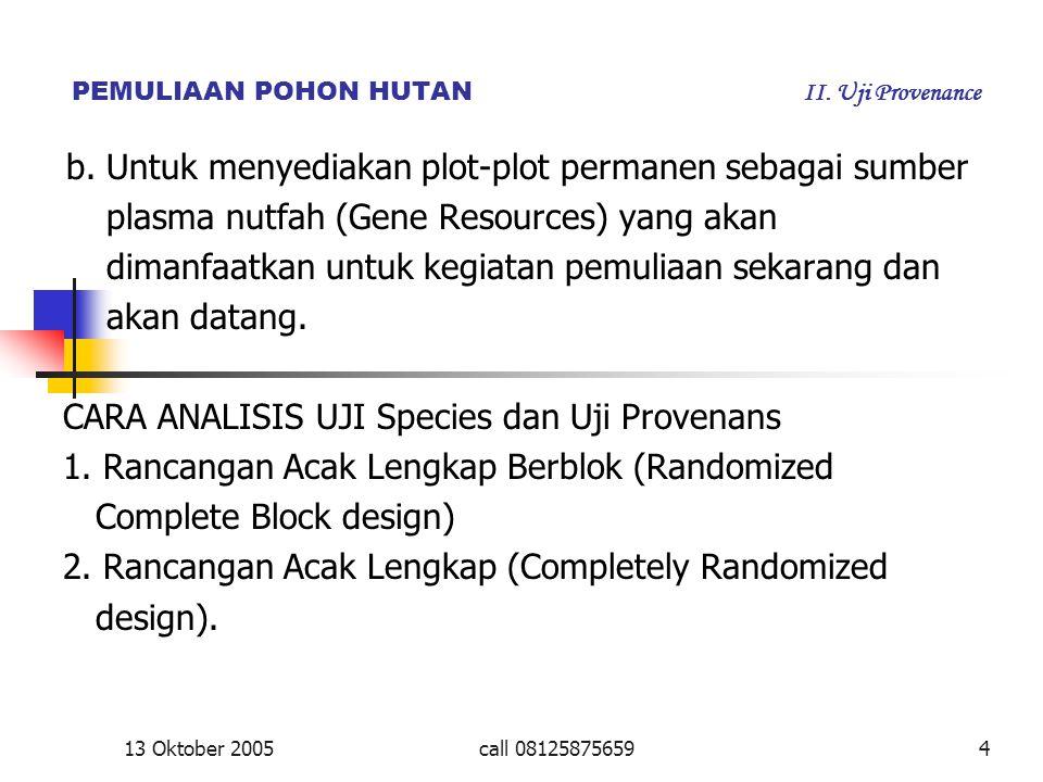 PEMULIAAN POHON HUTAN II. Uji Provenance b. Untuk menyediakan plot-plot permanen sebagai sumber plasma nutfah (Gene Resources) yang akan dimanfaatkan