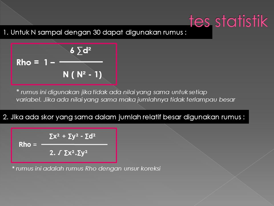 1. Untuk N sampai dengan 30 dapat digunakan rumus : 6 ∑d² Rho = 1 – N ( N² - 1) * rumus ini digunakan jika tidak ada nilai yang sama untuk setiap vari