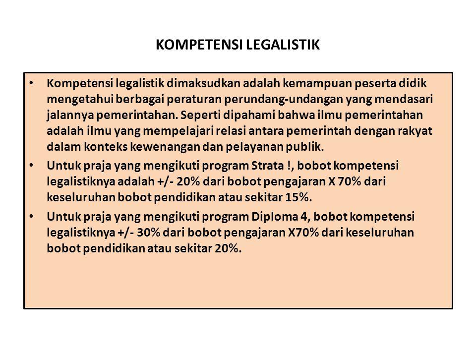 KOMPETENSI LEGALISTIK Kompetensi legalistik dimaksudkan adalah kemampuan peserta didik mengetahui berbagai peraturan perundang-undangan yang mendasari jalannya pemerintahan.