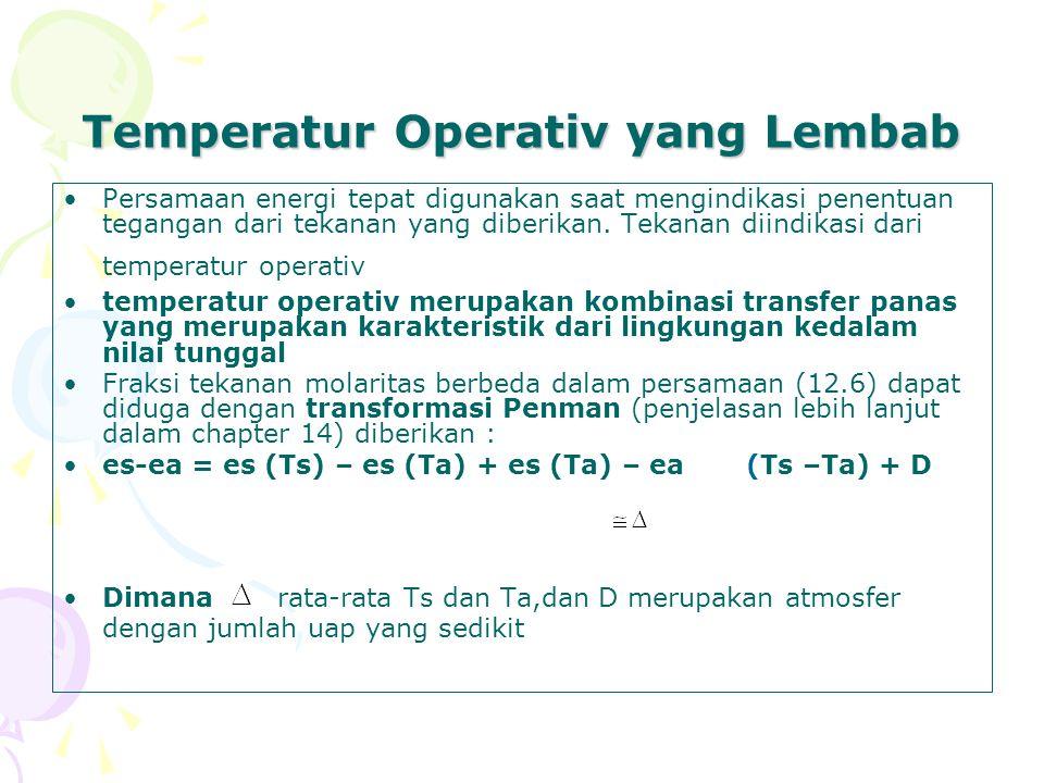 Temperatur Operativ yang Lembab Persamaan energi tepat digunakan saat mengindikasi penentuan tegangan dari tekanan yang diberikan.