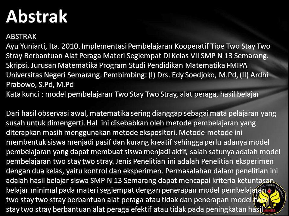 Abstrak ABSTRAK Ayu Yuniarti, Ita. 2010.