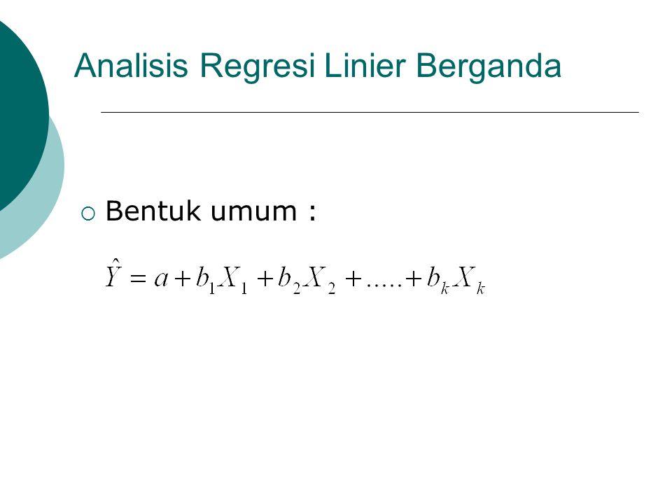 Analisis Regresi Linier Berganda  Bentuk umum :