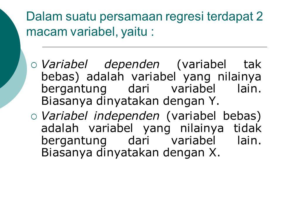 Dalam suatu persamaan regresi terdapat 2 macam variabel, yaitu :  Variabel dependen (variabel tak bebas) adalah variabel yang nilainya bergantung dar