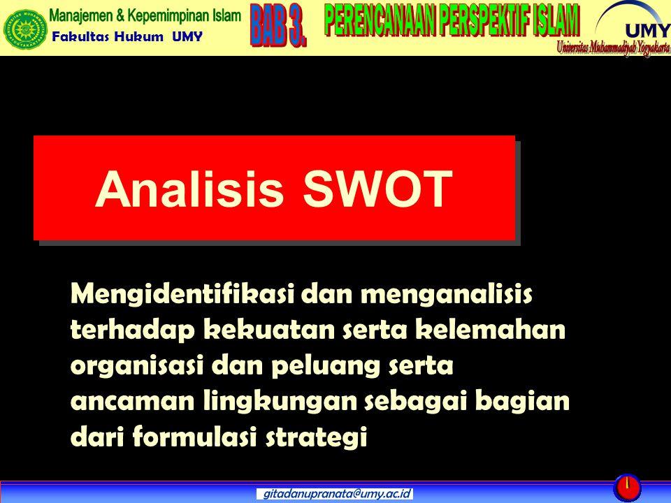 Fakultas Hukum UMY Analisis SWOT Mengidentifikasi dan menganalisis terhadap kekuatan serta kelemahan organisasi dan peluang serta ancaman lingkungan sebagai bagian dari formulasi strategi