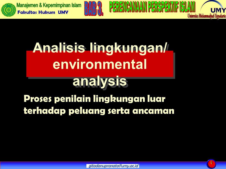 Fakultas Hukum UMY Analisis lingkungan/ environmental analysis Proses penilain lingkungan luar terhadap peluang serta ancaman