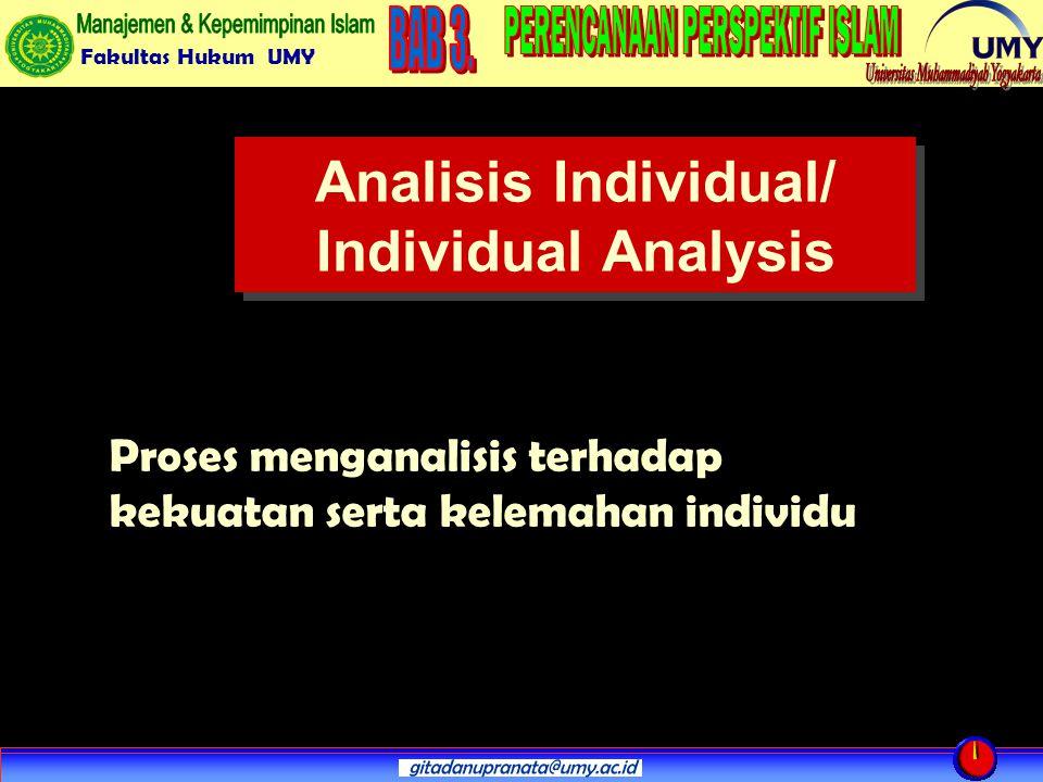 Fakultas Hukum UMY Analisis Individual/ Individual Analysis Proses menganalisis terhadap kekuatan serta kelemahan individu