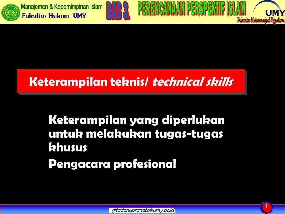 Fakultas Hukum UMY Keterampilan teknis/ technical skills Keterampilan yang diperlukan untuk melakukan tugas-tugas khusus Pengacara profesional