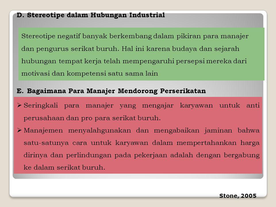 D.Stereotipe dalam Hubungan Industrial Stereotipe negatif banyak berkembang dalam pikiran para manajer dan pengurus serikat buruh. Hal ini karena buda