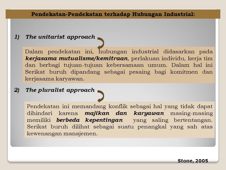 Pendekatan-Pendekatan terhadap Hubungan Industrial: 1)The unitarist approach Dalam pendekatan ini, hubungan industrial didasarkan pada kerjasama mutua