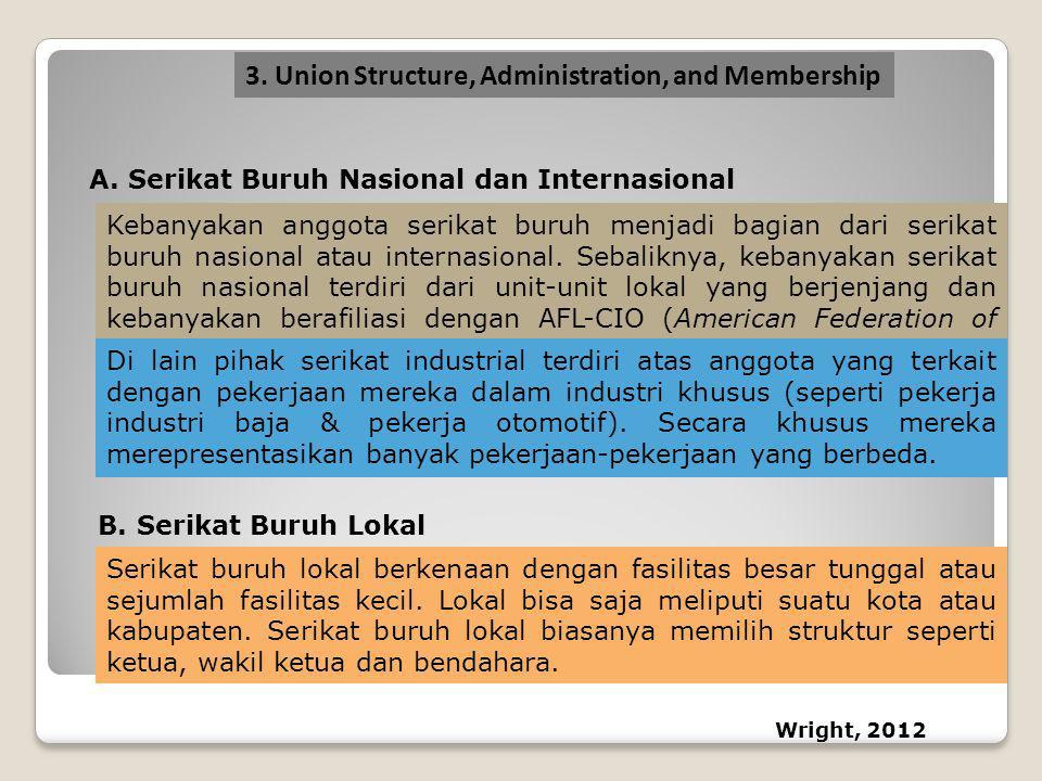 A.Serikat Buruh Nasional dan Internasional Kebanyakan anggota serikat buruh menjadi bagian dari serikat buruh nasional atau internasional. Sebaliknya,