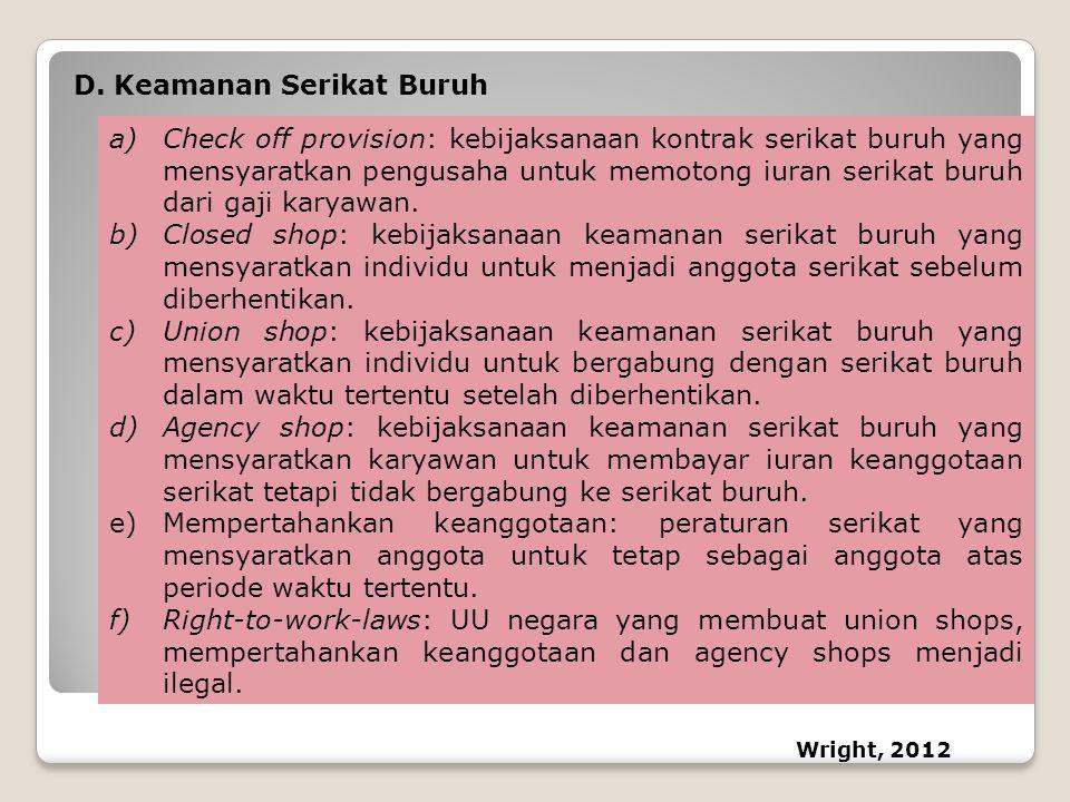 D.Keamanan Serikat Buruh a)Check off provision: kebijaksanaan kontrak serikat buruh yang mensyaratkan pengusaha untuk memotong iuran serikat buruh dar