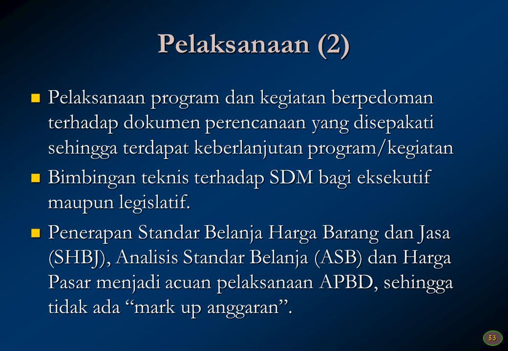 52 Perencanaan (1) Pelibatan secara aktif stakeholder (masyarakat/swasta, perguruan tinggi, eksekutif dan legislatif) dilakukan dengan terjadwal dari