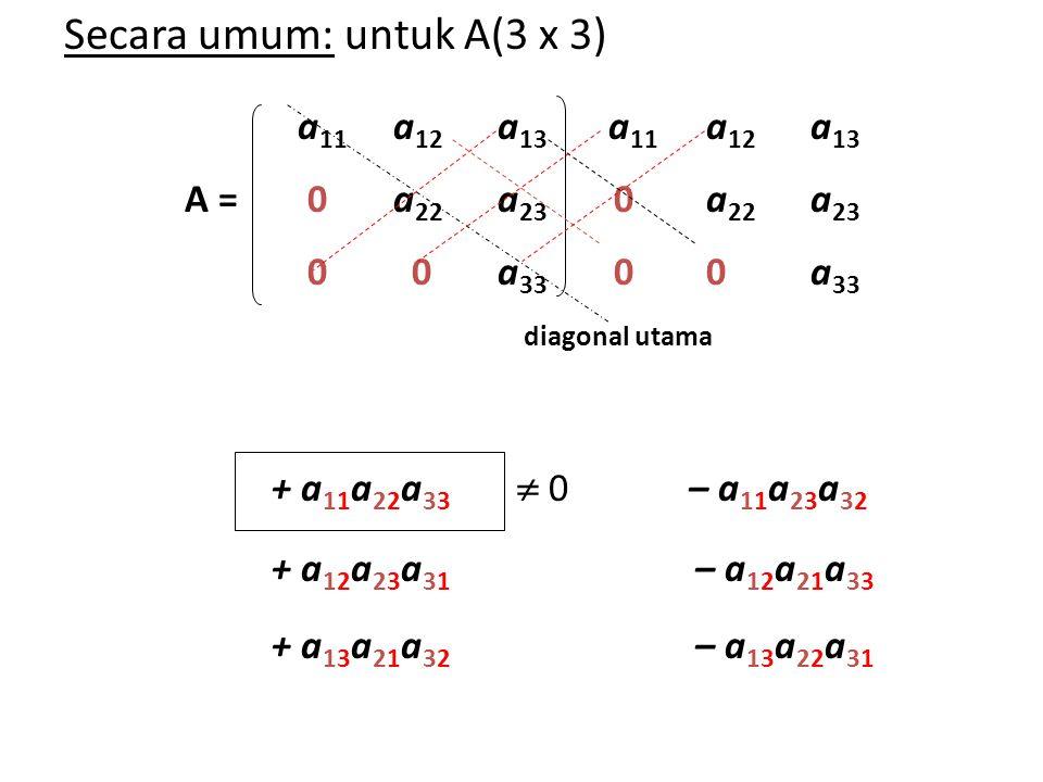 a 11 a 12 a 13 a 11 a 12 a 13 A = 0a 22 a 23 0a 22 a 23 0 0a 33 00a 33 diagonal utama + a 11 a 22 a 33  0– a 11 a 23 a 32 + a 12 a 23 a 31 – a 12 a 2