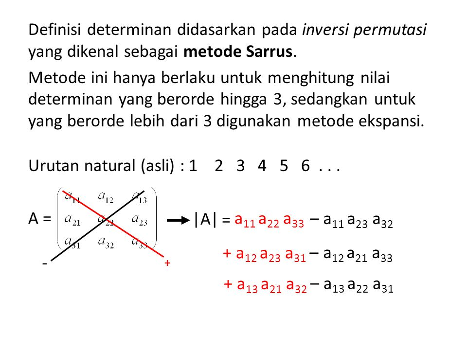Definisi determinan didasarkan pada inversi permutasi yang dikenal sebagai metode Sarrus. Metode ini hanya berlaku untuk menghitung nilai determinan y