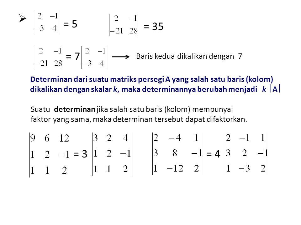 = 5 Baris kedua dikalikan dengan 7 = 35 = 7 Suatu determinan jika salah satu baris (kolom) mempunyai faktor yang sama, maka determinan tersebut dapat