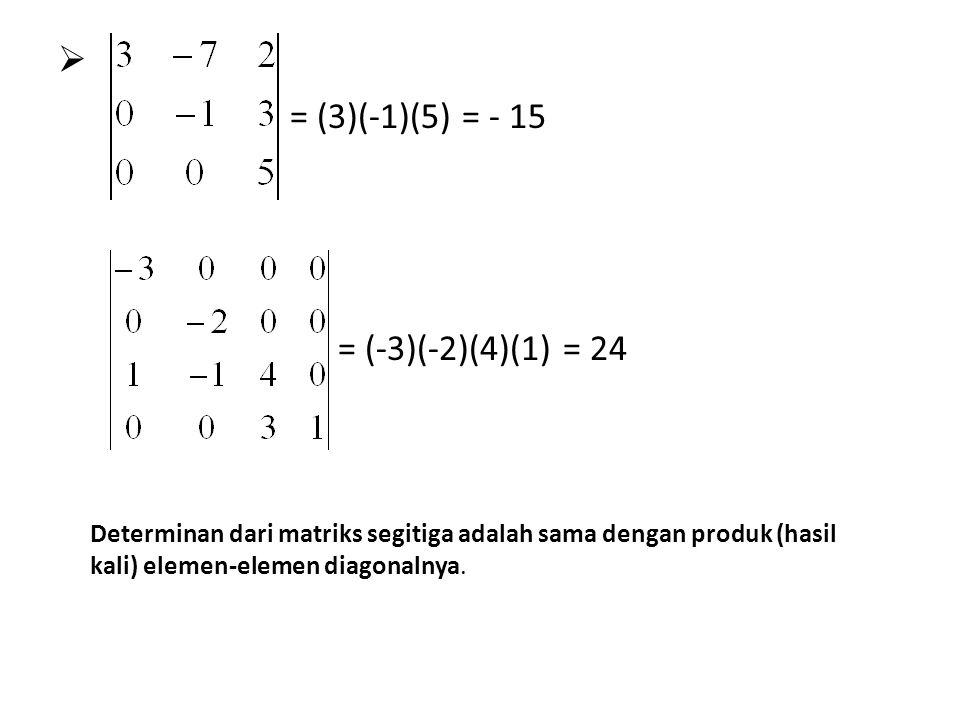  = (3)(-1)(5) = - 15 = (-3)(-2)(4)(1) = 24 Determinan dari matriks segitiga adalah sama dengan produk (hasil kali) elemen-elemen diagonalnya.