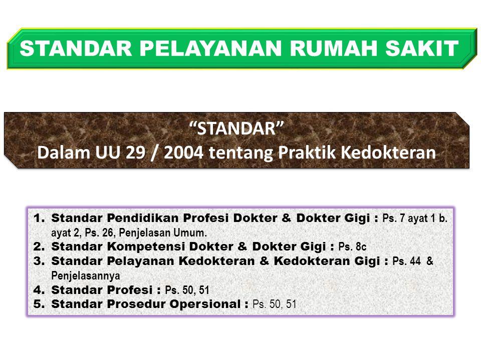 STANDAR Dalam UU 29 / 2004 tentang Praktik Kedokteran STANDAR Dalam UU 29 / 2004 tentang Praktik Kedokteran STANDAR PELAYANAN RUMAH SAKIT 1.Standar Pendidikan Profesi Dokter & Dokter Gigi : Ps.