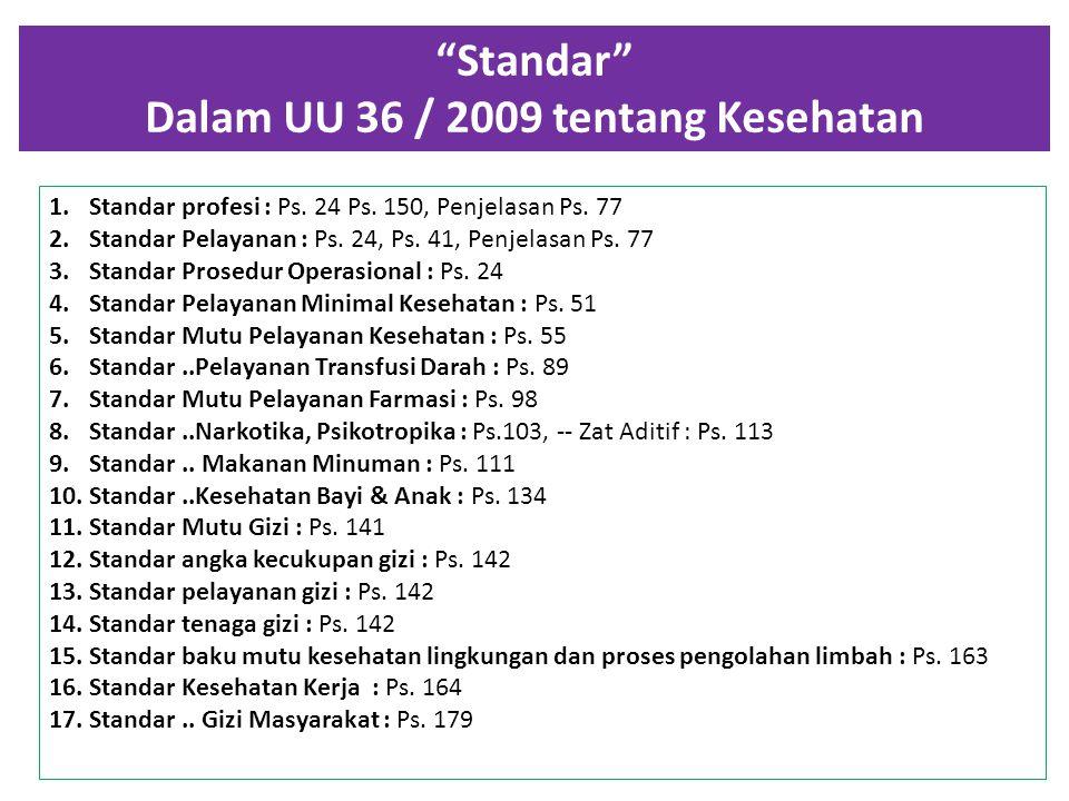 Standar Dalam UU 36 / 2009 tentang Kesehatan 1.Standar profesi : Ps.
