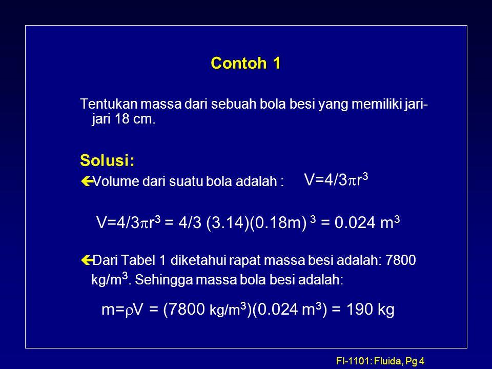 FI-1101: Fluida, Pg 4 Contoh 1 Tentukan massa dari sebuah bola besi yang memiliki jari- jari 18 cm. Solusi: çVolume dari suatu bola adalah : çDari Tab