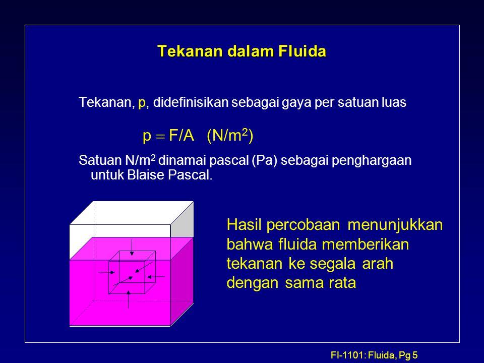 FI-1101: Fluida, Pg 5 Tekanan dalam Fluida Tekanan, p, didefinisikan sebagai gaya per satuan luas Satuan N/m 2 dinamai pascal (Pa) sebagai penghargaan
