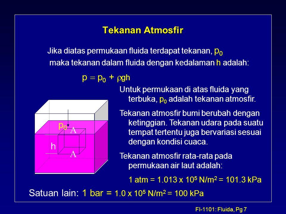 FI-1101: Fluida, Pg 7 Tekanan Atmosfir Jika diatas permukaan fluida terdapat tekanan, p 0 maka tekanan dalam fluida dengan kedalaman h adalah:   h U