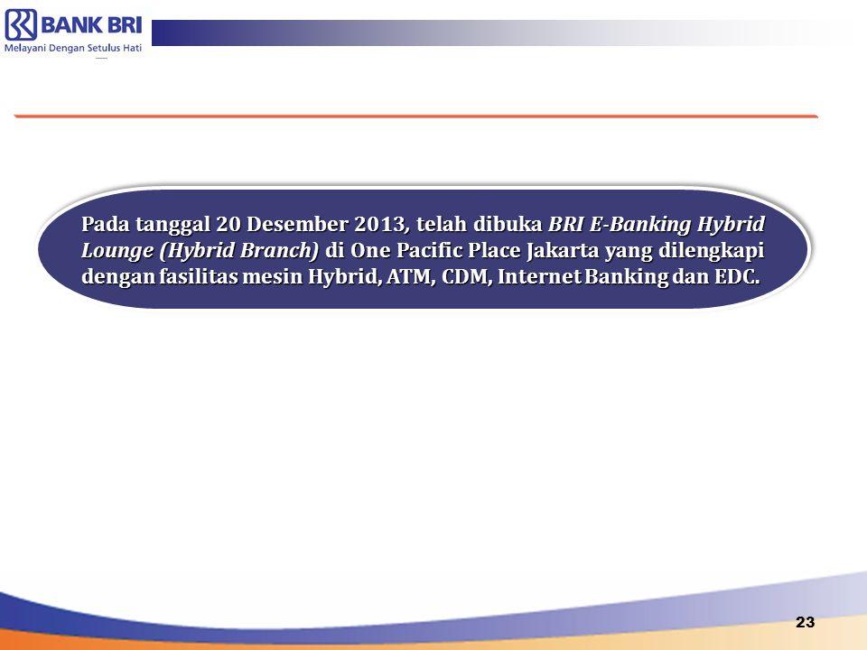 23 Pada tanggal 20 Desember 2013, telah dibuka BRI E-Banking Hybrid Lounge (Hybrid Branch) di One Pacific Place Jakarta yang dilengkapi dengan fasilit