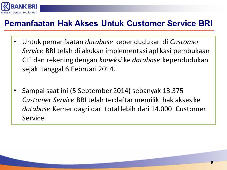 5 Pemanfaatan Hak Akses Untuk Customer Service BRI Untuk pemanfaatan database kependudukan di Customer Service BRI telah dilakukan implementasi aplika