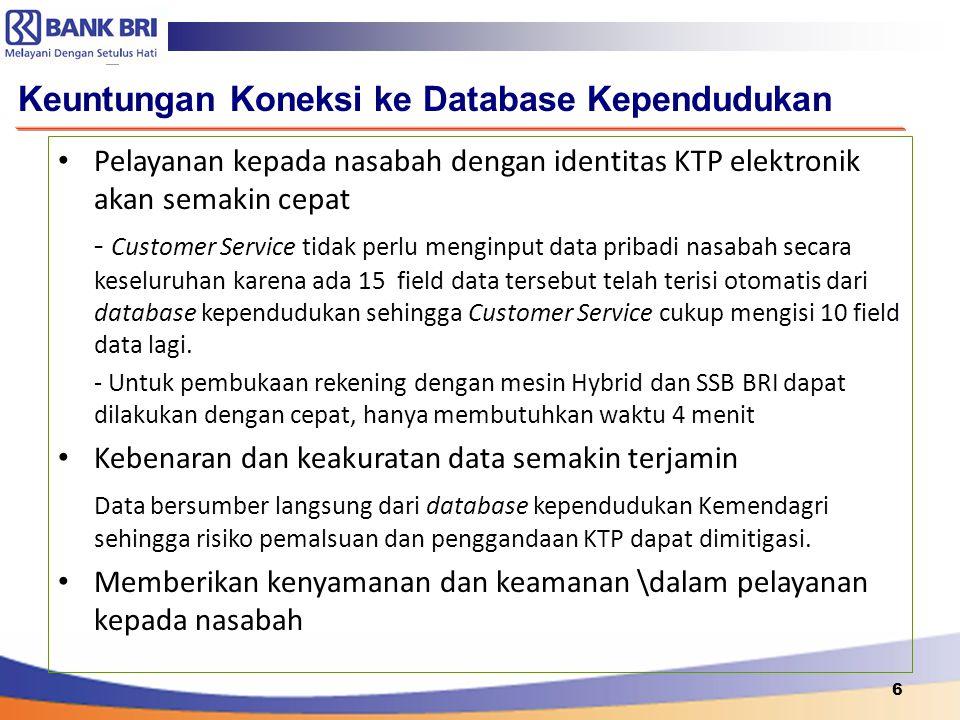 6 Keuntungan Koneksi ke Database Kependudukan Pelayanan kepada nasabah dengan identitas KTP elektronik akan semakin cepat - Customer Service tidak per