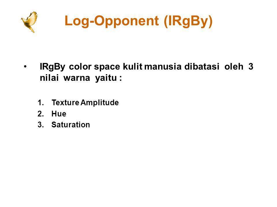 Log-Opponent (IRgBy) IRgBy color space kulit manusia dibatasi oleh 3 nilai warna yaitu : 1.Texture Amplitude 2.Hue 3.Saturation