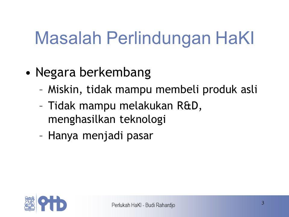 Perlukah HaKI - Budi Rahardjo 4 Masalah Perlindungan HaKI Hanya untuk perusahaan besar saja Paten menjadi mengada-ada Paten software menghambat inovasi Paten membuat harga menjadi mahal Pembajakan software di Indonesia