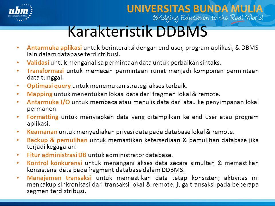 Karakteristik DDBMS Antarmuka aplikasi untuk berinteraksi dengan end user, program aplikasi, & DBMS lain dalam database terdistribusi. Validasi untuk