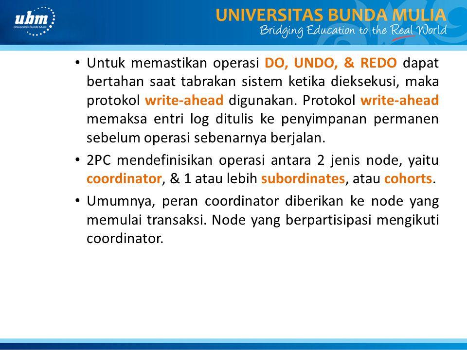 Untuk memastikan operasi DO, UNDO, & REDO dapat bertahan saat tabrakan sistem ketika dieksekusi, maka protokol write-ahead digunakan. Protokol write-a
