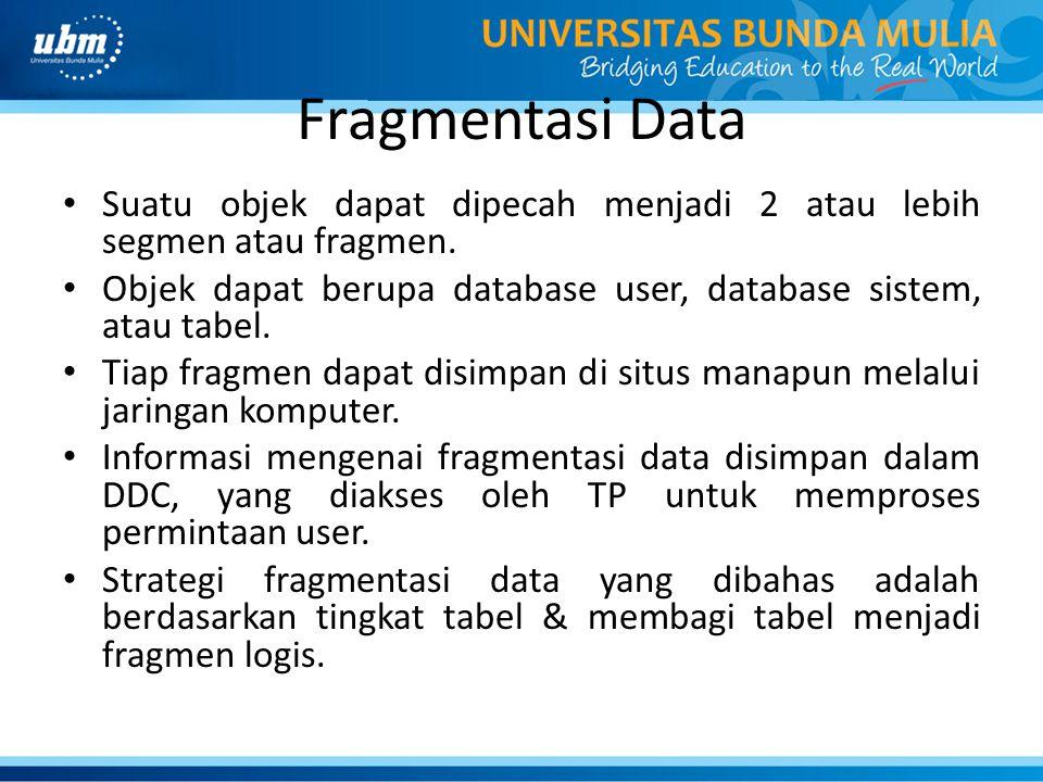 Fragmentasi Data Suatu objek dapat dipecah menjadi 2 atau lebih segmen atau fragmen. Objek dapat berupa database user, database sistem, atau tabel. Ti