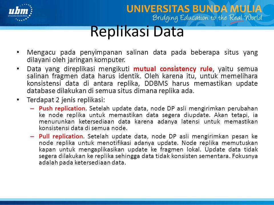 Replikasi Data Mengacu pada penyimpanan salinan data pada beberapa situs yang dilayani oleh jaringan komputer. Data yang direplikasi mengikuti mutual