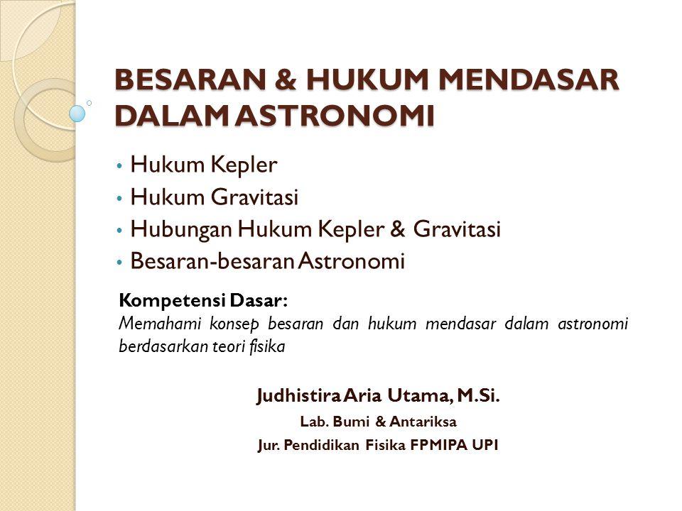 BESARAN & HUKUM MENDASAR DALAM ASTRONOMI Hukum Kepler Hukum Gravitasi Hubungan Hukum Kepler & Gravitasi Besaran-besaran Astronomi Kompetensi Dasar: Memahami konsep besaran dan hukum mendasar dalam astronomi berdasarkan teori fisika Judhistira Aria Utama, M.Si.